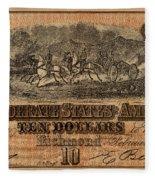 Confederate Ten Dollars Fleece Blanket