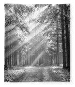 Coniferous Forest In Early Morning Fleece Blanket
