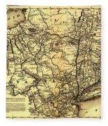 Connecticut And Western Railroad Map 1871 Fleece Blanket