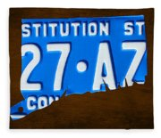 Connecticut State License Plate Map Fleece Blanket