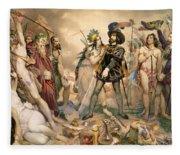 Conquest Of Mexico Hernando Cortes Destroying His Fleet At Vera Cruz Fleece Blanket