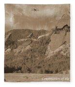 Construction Of The Flatirons - 1931 - Sepia Fleece Blanket