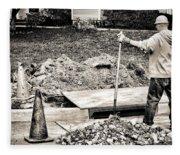 Construction Worker Fleece Blanket