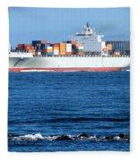 Container Ship Fleece Blanket