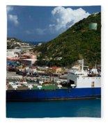 Container Ship St Maarten Fleece Blanket