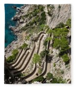 Contemplating Mediterranean Vacations - Via Krupp Capri Island Italy Fleece Blanket