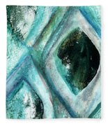Contemporary Abstract- Teal Drops Fleece Blanket