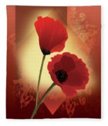 Contemporary Wild Poppies Fleece Blanket