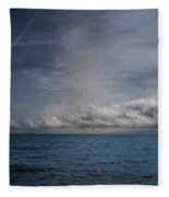Contrails And Rainclouds Over Lake Michigan Fleece Blanket