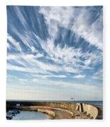 Contrails At Lyme Regis Harbour  Fleece Blanket