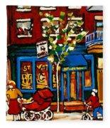 Conversation At St Viateur Bagel Paintings Mehadrin Kosher Deli Authentic Vintage Montreal Cspandau Fleece Blanket