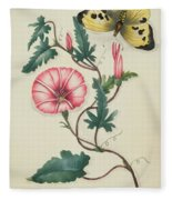Convolvulus With Yellow Butterfly Fleece Blanket