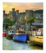 Conwy Castle And Harbour Fleece Blanket