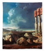 Cook: Easter Island, 1774 Fleece Blanket