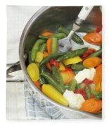 Cooked Mixed Vegetables Fleece Blanket