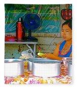 Cooking In The Marketplace In Tachilek-burma Fleece Blanket