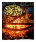 Cooking Meat And Potatoes Fleece Blanket