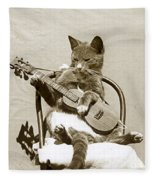 Cool Cat Playing A Guitar Circa 1900 Historical Photo By Photo  Henry King Nourse Fleece Blanket