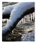 Cool Icicles Reflecting In The Waves  Fleece Blanket