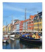 Copenhagen Denmark Nyhavn District Fleece Blanket