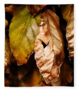Copper Beech Leaves Fleece Blanket