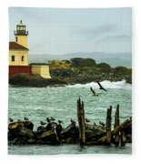 Coquille River Lighthouse And Birds Fleece Blanket
