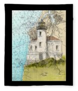 Coquille River Lighthouse Or Nautical Chart Map Art Cathy Peek Fleece Blanket