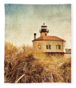 Coquille River Lighthouse - Texture Fleece Blanket