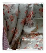Coral Rose Quilt With Quote Fleece Blanket