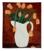 Coral Tulips In A Milk Pitcher Fleece Blanket