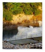 Coralville Dam At Capacity Fleece Blanket