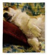 Corgi Asleep On The Pillow Fleece Blanket