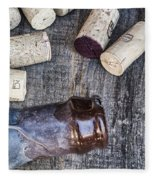 Corks With Bottle Fleece Blanket