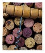 Corkscrew On Top Of Wine Corks Fleece Blanket