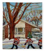 Cormac And Friends Neighborhood Hockey Game Ottawa Suburban City Scene Fleece Blanket