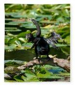 Cormorant And Turtle Fleece Blanket