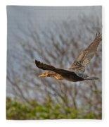Cormorant On Wings Fleece Blanket