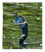 Cormorant With Catch Fleece Blanket