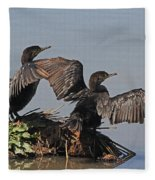 Cormorants Sunbathing Fleece Blanket