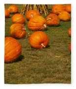 Corn Plants With Pumpkins In A Field Fleece Blanket
