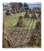 Corn Shocks Amish Field Fleece Blanket