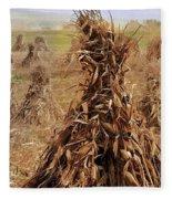 Corn Stalk Bales Fleece Blanket