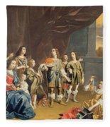 Cornelia And Her Jewels Oil On Canvas Fleece Blanket