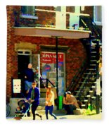 Corner Laurier Marche Maboule Depanneur Summer Stroll With Baby Carriage Montreal Street Scene Fleece Blanket