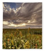 Cornfield Sunset  Fleece Blanket