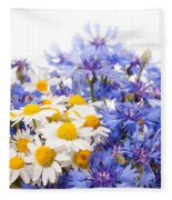 Cornflower And Chamomile Bunch Blooms  Fleece Blanket
