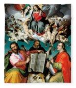 Coronation Of The Virgin With Saints Luke Dominic And John The Evangelist Fleece Blanket