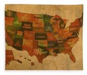 Corporate America Map Fleece Blanket