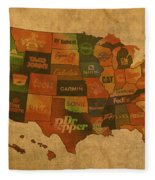Corporate America Map Fleece Blanket