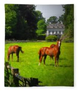 Corralled Horses - Featured In And Lets All Participate And Abc Groups Fleece Blanket